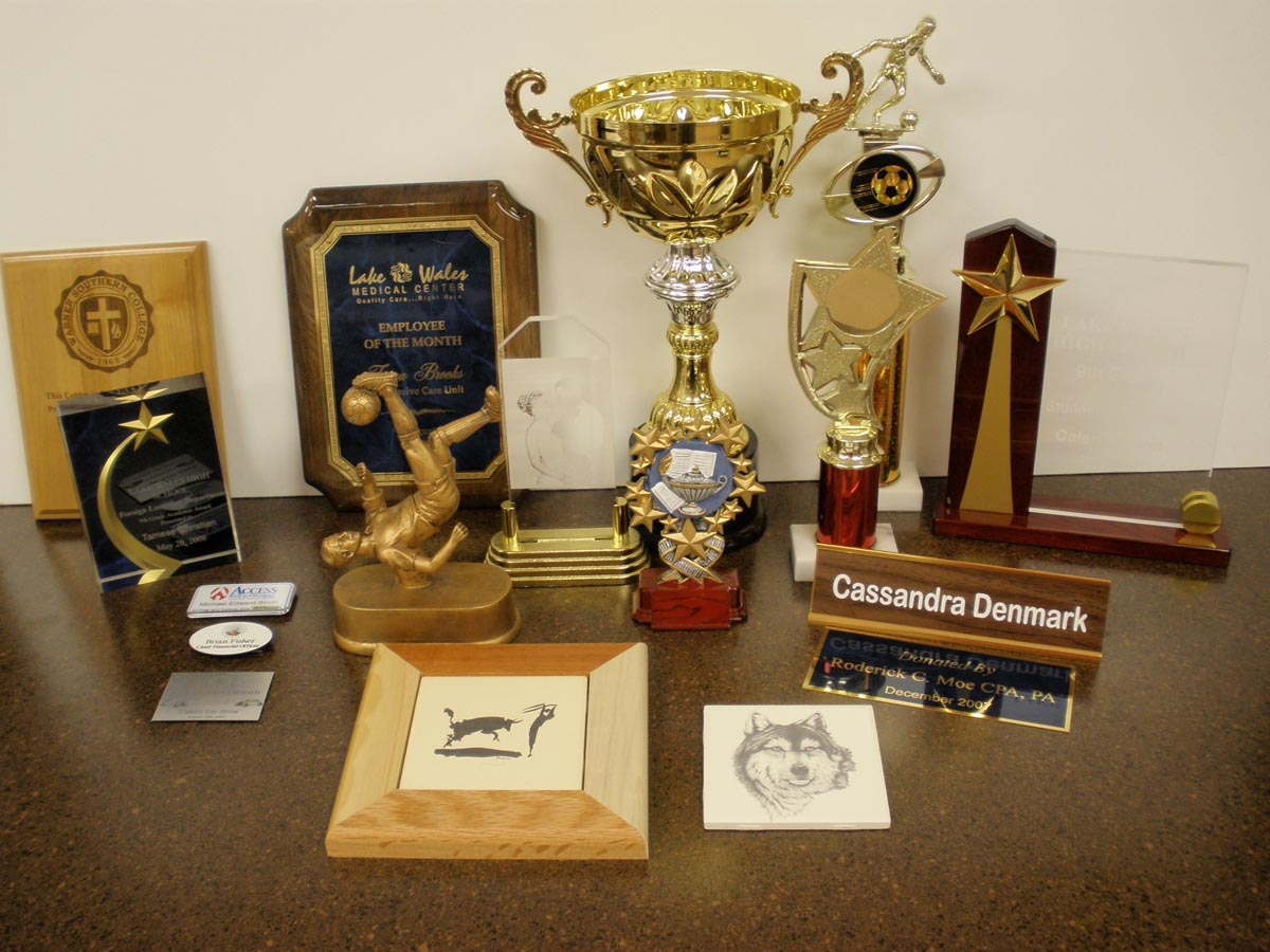 Laser Engraving Trophies Plaques Gifts Action Signs